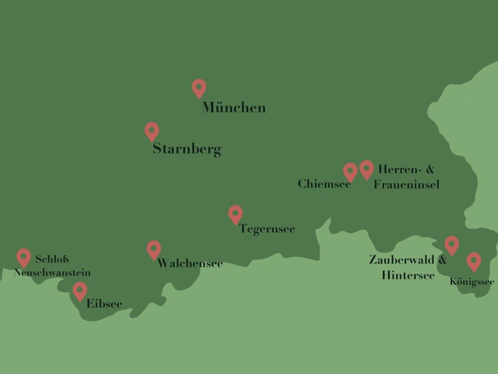 Unsere Route für den Roadtrip durch Bayern