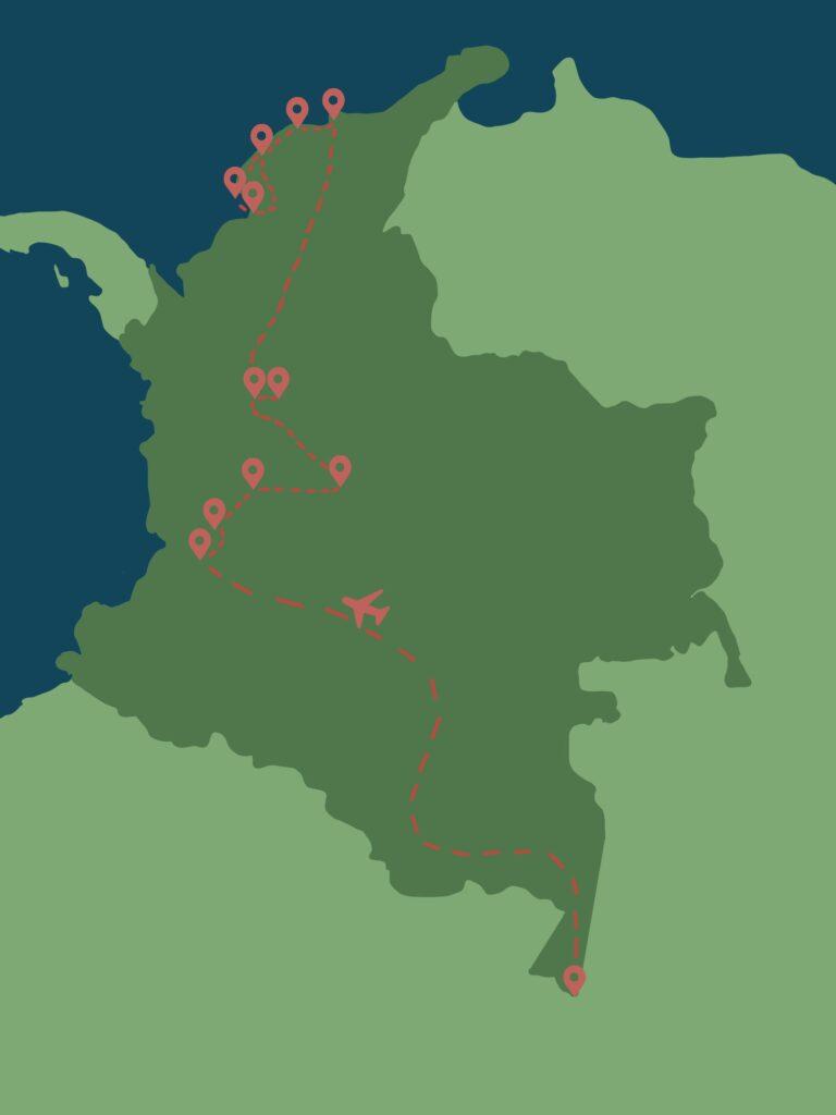 Meine Reiseroute durch Kolumbien
